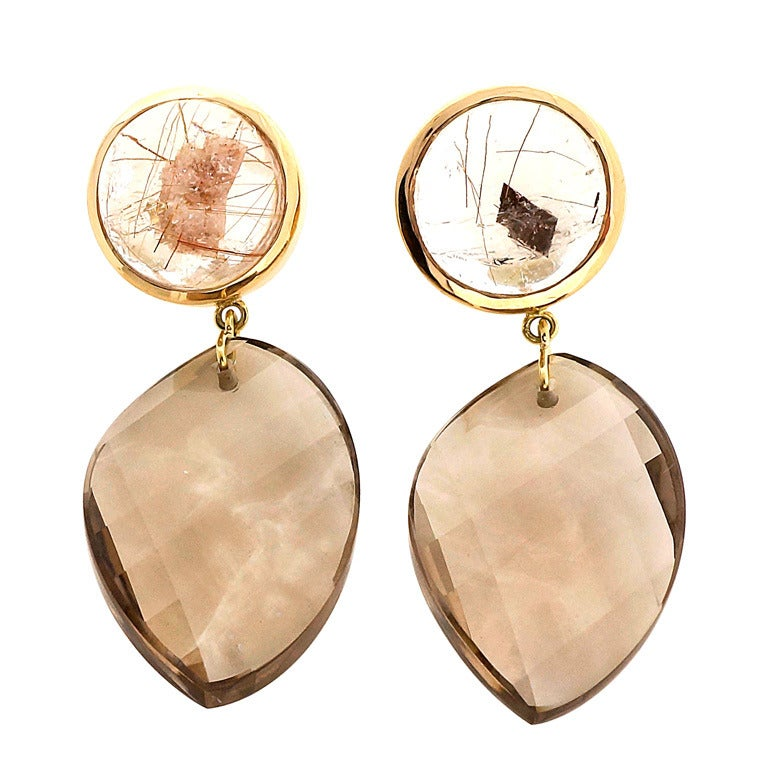 Peter Suchy Manifestor Quartz Gold Dangle Earrings