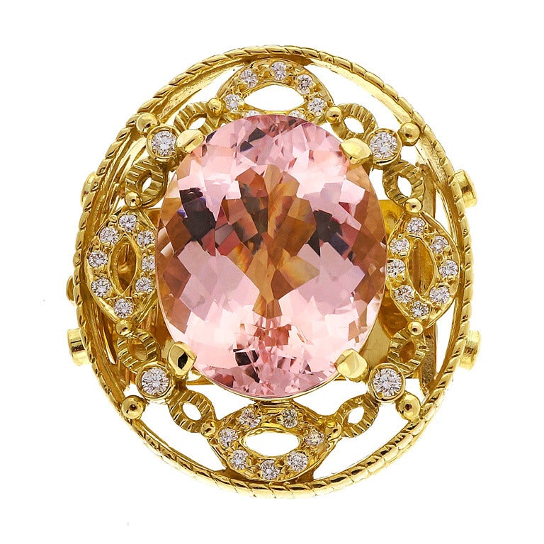 Doris Panos Yellow Gold Morganite Diamond Pendant Slide For Sale