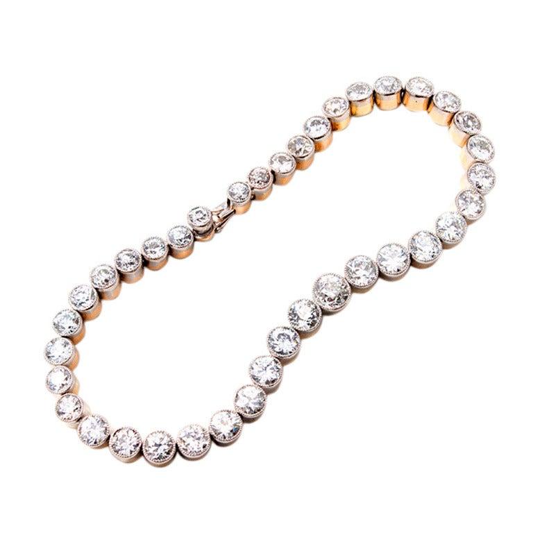 Victorian Diamond Gold Platinum Bezel Set Bracelet
