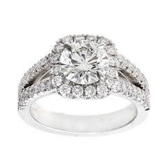 Peter Suchy 1.56 Carat Diamond Halo Platinum Split Shank Engagement Ring