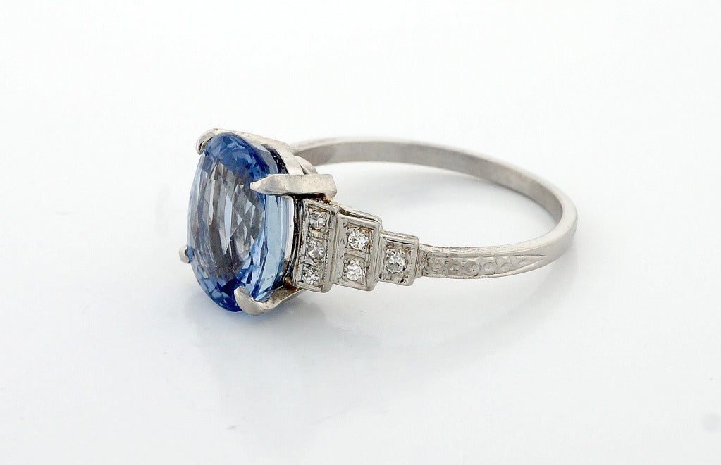 blue sapphire platinum engagement ring for sale at