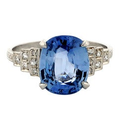 Blue Sapphire Diamond Platinum Engagement Ring