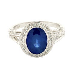 Oval Cornflower Sapphire And Diamond Platinum Ring