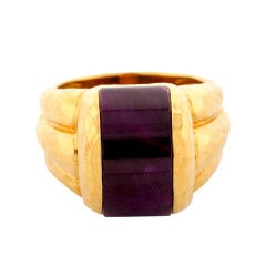 Henry Dunay Hammered Crescent Ruby Gold Ring