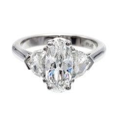 Elongated Cushion Diamond Platinum Ring