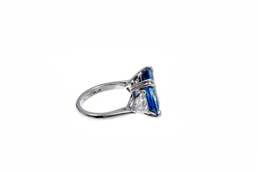 Art Deco Asscher Cut Natural Sapphire Diamond Platinum Ring For Sale
