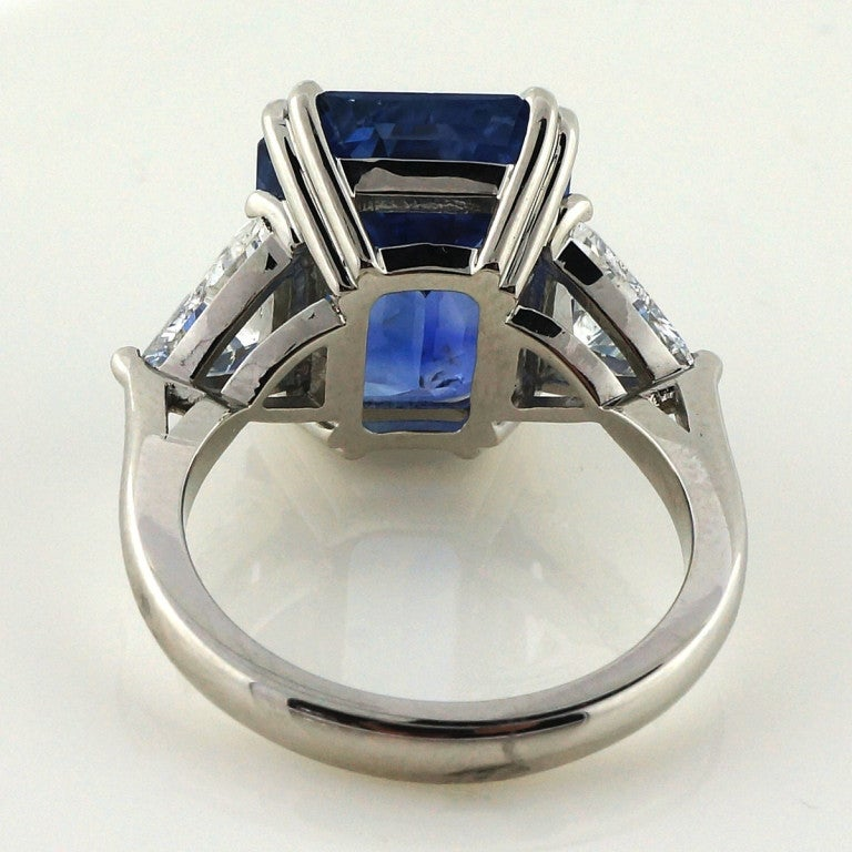 Asscher Cut Natural Sapphire Diamond Platinum Ring image 4