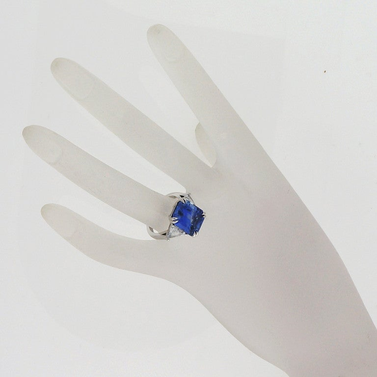 Asscher Cut Natural Sapphire Diamond Platinum Ring For Sale 2