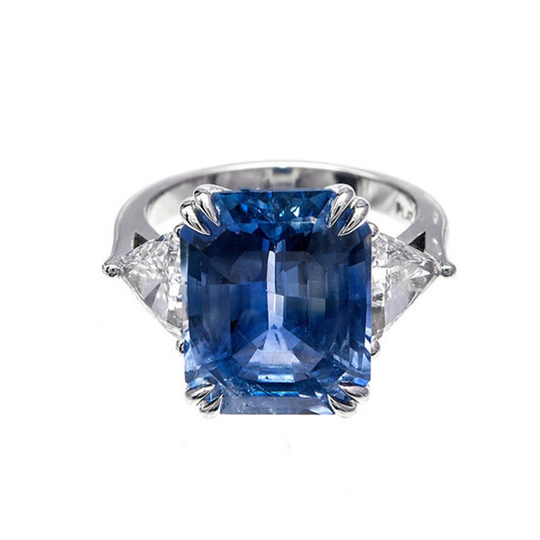 Asscher Cut Natural Sapphire Diamond Platinum Ring For Sale