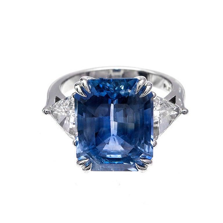 Asscher Cut Natural Sapphire Diamond Platinum Ring