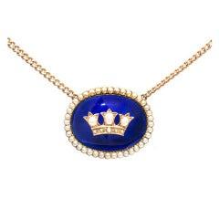 Cobalt Blue Enamel Natural Pearl Gold Pendant