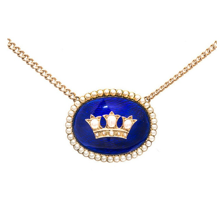 Hand Crafted Enamel House Necklace Pendant Copper Home: Cobalt Blue Enamel Natural Pearl Gold Pendant For Sale At