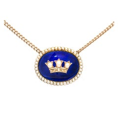 Cobalt Blue Enamel Natural Pearl Gold Pendant Necklace