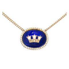 Cobalt Blue Enamel Natural Pearl Gold Pendant Necklace