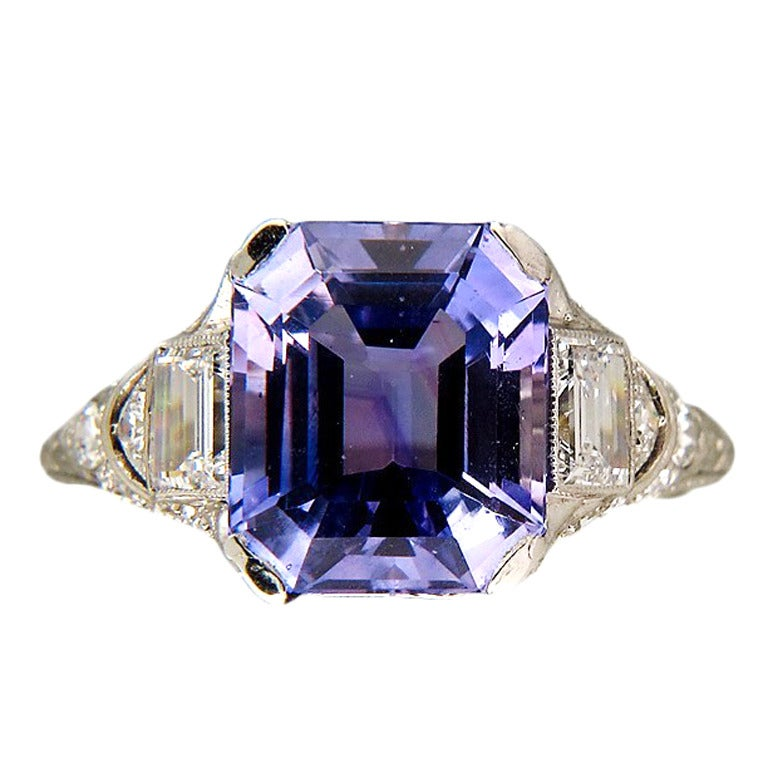 Tiffany And Co Art Deco Natural Sapphire Platinum Ring