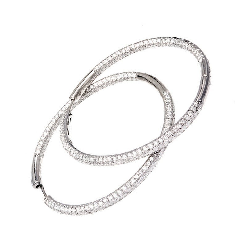 Micro Pave Diamond Gold Hoop Earrings