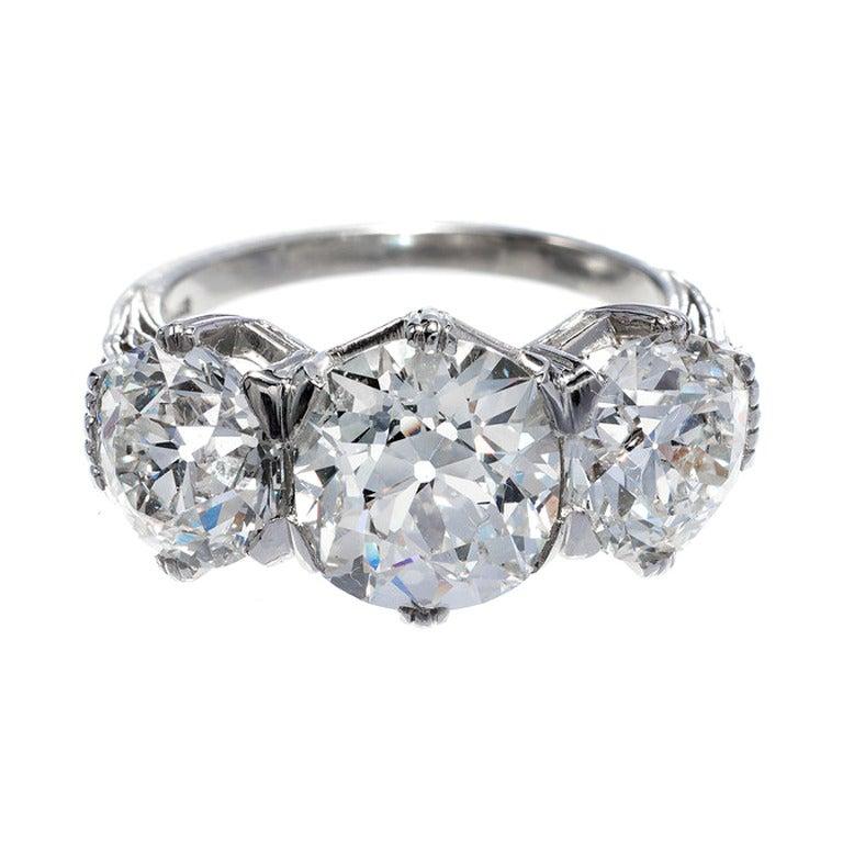 Marcus & Co. GIA Cert Diamond Platinum Three Stone Engagement Ring