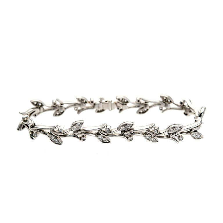 01c6248a9 Tiffany & Co. Diamond Platinum Garland Bracelet In Good Condition For Sale  In Stamford,