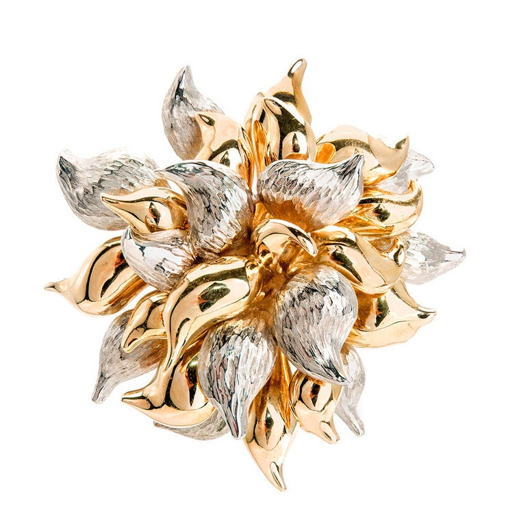 Tiffany & Co. Yellow And White Gold Flower Pin 1950
