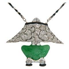 Rare Art Deco Tiffany & Co. Jade Diamond Platinum Lamp Pendant