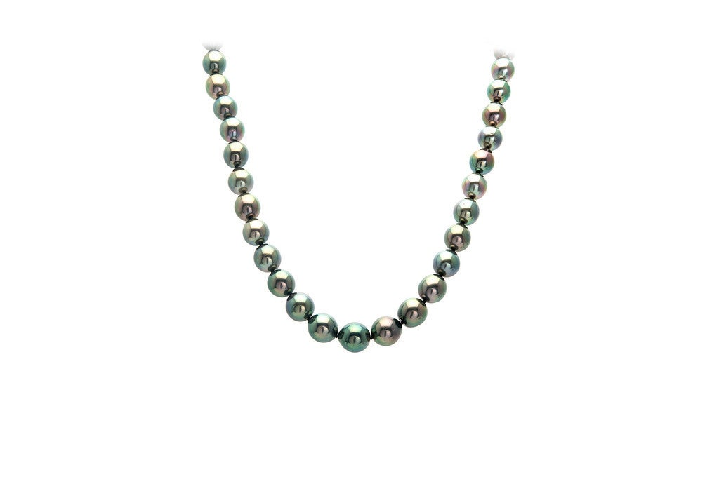 Mikimoto Tahitian Black South Sea Pearl Gold Necklace For Sale 4