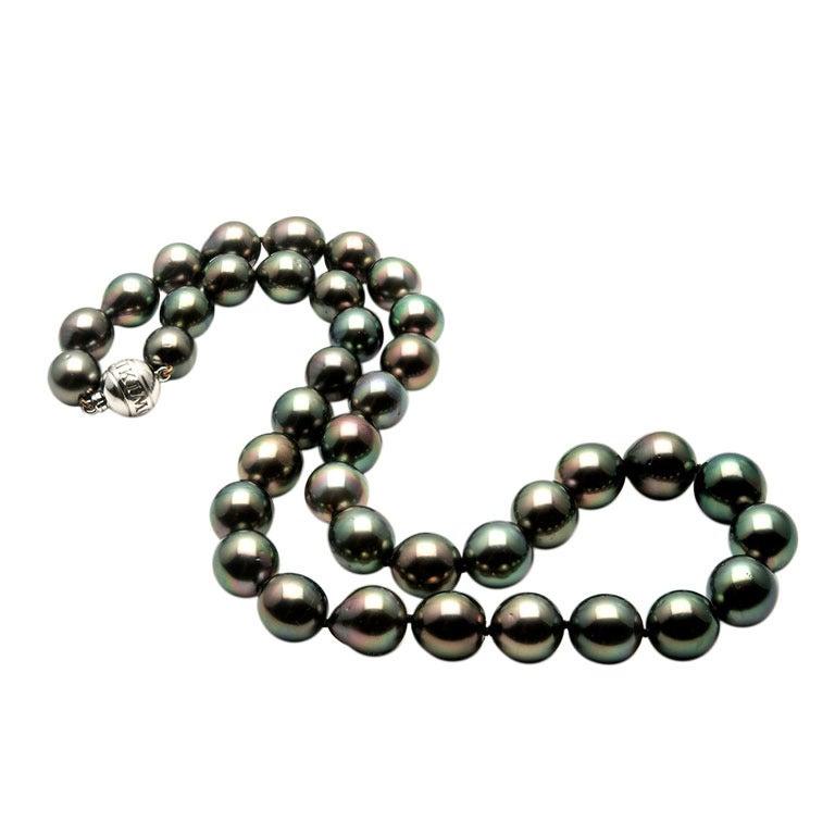 Mikimoto Tahitian Black South Sea Pearl Gold Necklace At