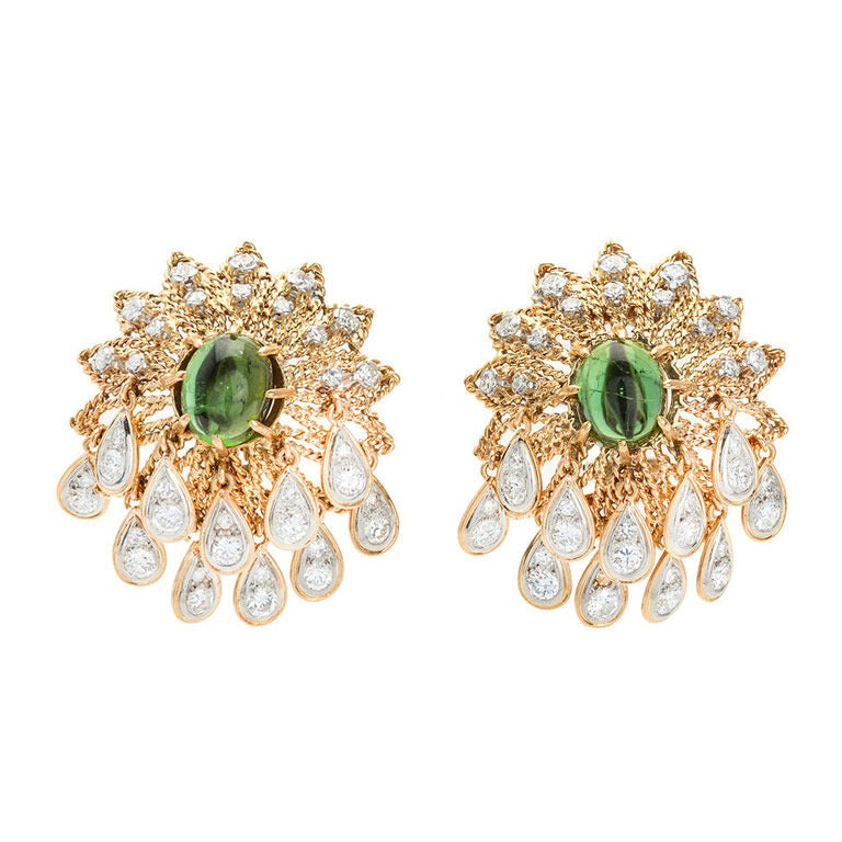 1950s Green Tourmaline Diamond Gold Earrings