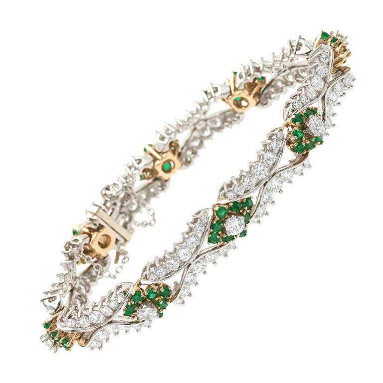 1950s Emerald Diamond Two Color Gold Bracelet