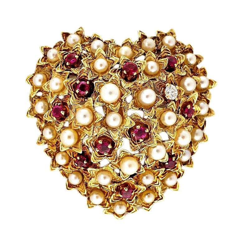 Tiffany & Co. Pearl Ruby Diamond Gold Domed Heart Pin