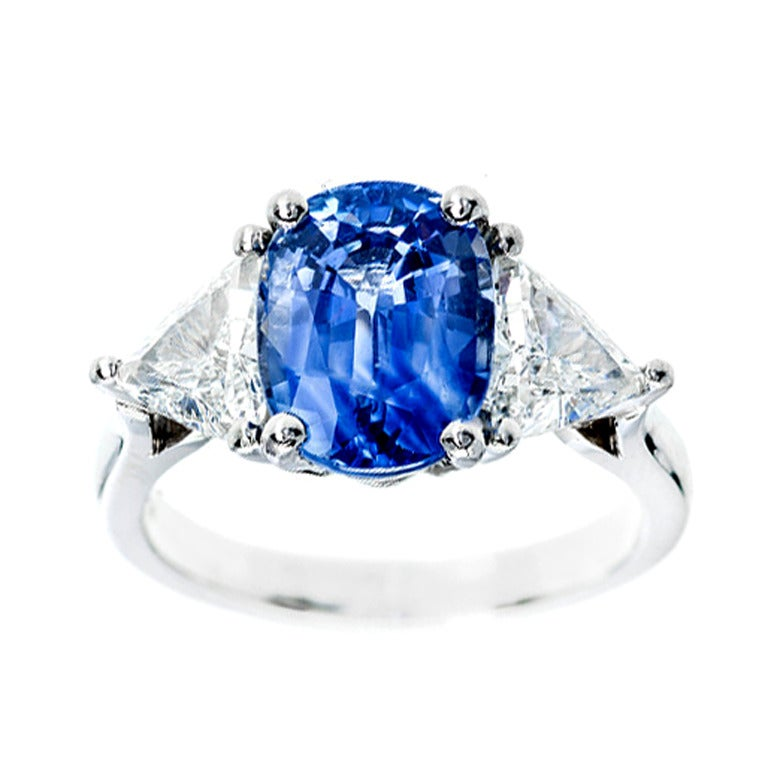 Sapphire Diamond Platinum Three-Stone Engagement Ring For Sale