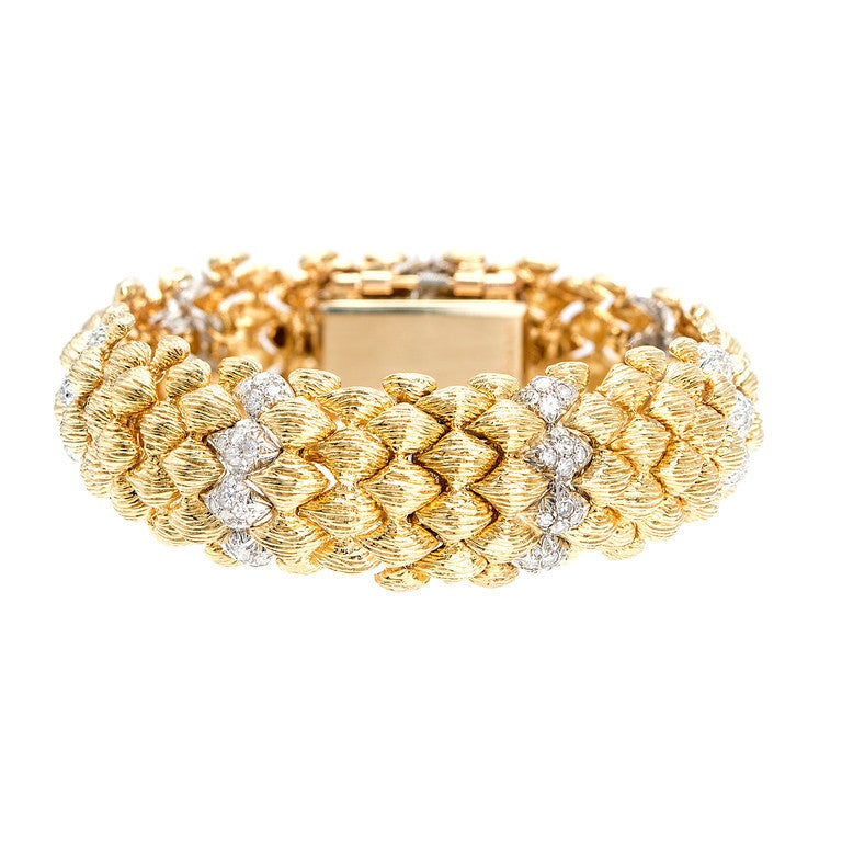 bombe jewelry goldie s yellow gold bombe bracelet hinged covered 3235
