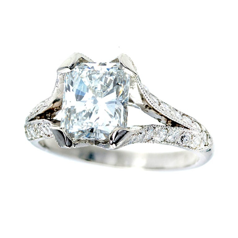radiant cut platinum engagement ring at 1stdibs