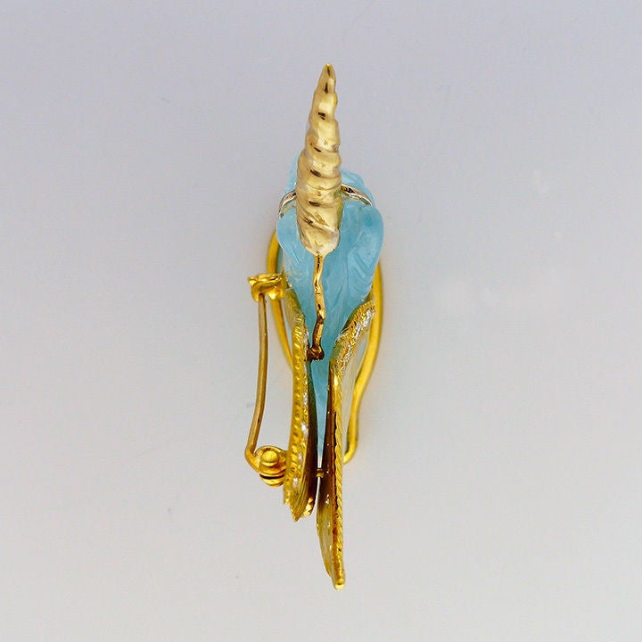 Peter Suchy Natural Carved Aquamarine Gold Unicorn Pin 3