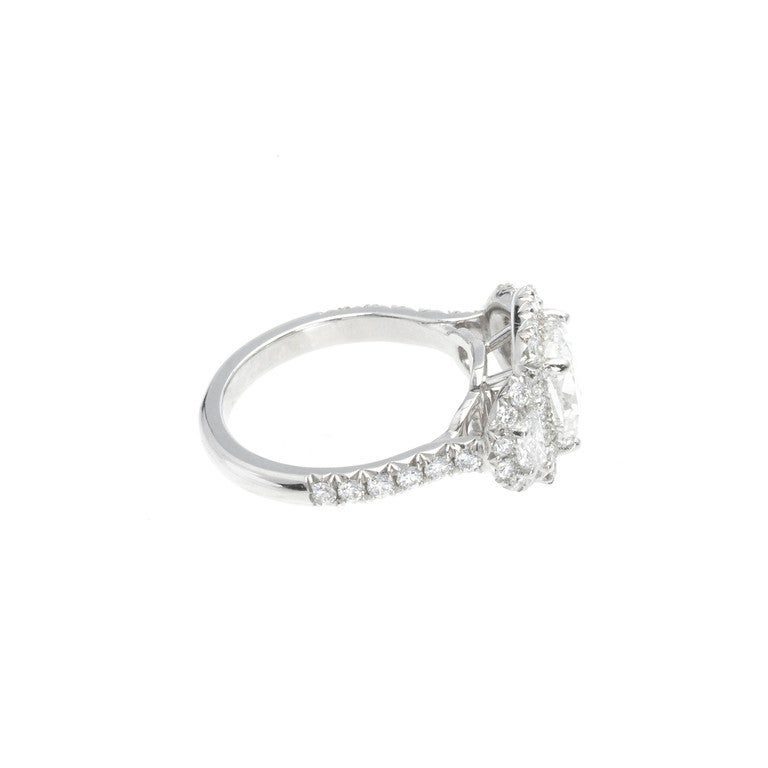 platinum halo engagement ring at 1stdibs