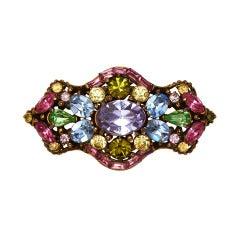 1950s Hollycraft Multicoloured Brooch Earrings Set
