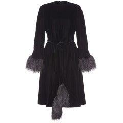 1960s Christian Dior Black Ostrich Feather Dress