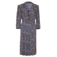 1940s Crepe Paisley Print Dress