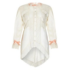1900's Cream Cotton and Lace Shirt