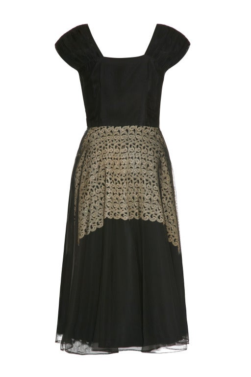 1940's Black Dress With Cream Lace Underlay 2