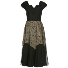1940's Black Dress With Cream Lace Underlay
