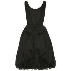 1950's Black Taffeta Bubble Cocktail Dress