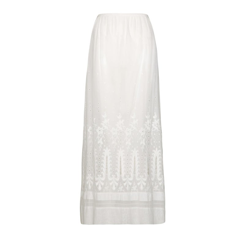 1910 Edwardian White Cotton Embroidered Lawn Skirt