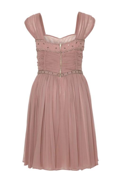 1950's Dusky Pink 'Heiress' Cocktail Dress at 1stdibs