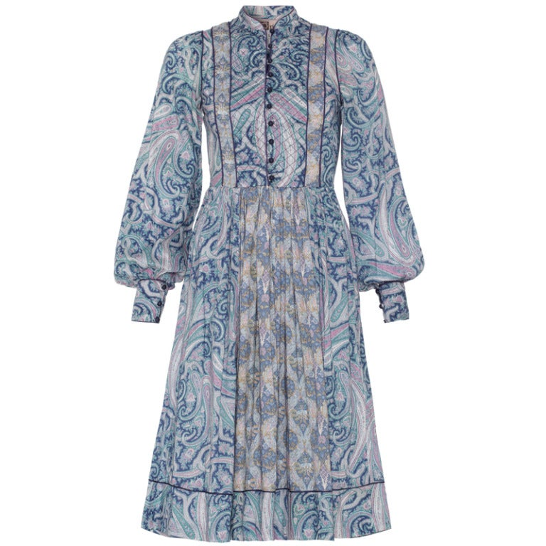 1970's Liberty Print Dress With Quilted Panel 1
