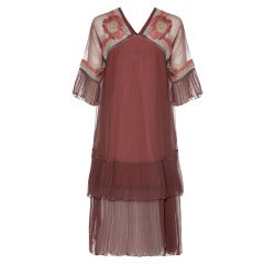 1970's Janice Wainwright Great Gatsby Inspired Embroidered Flapper Dress