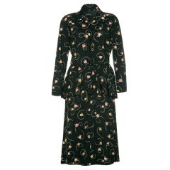 1940's Floral Peplum Shirt Dress