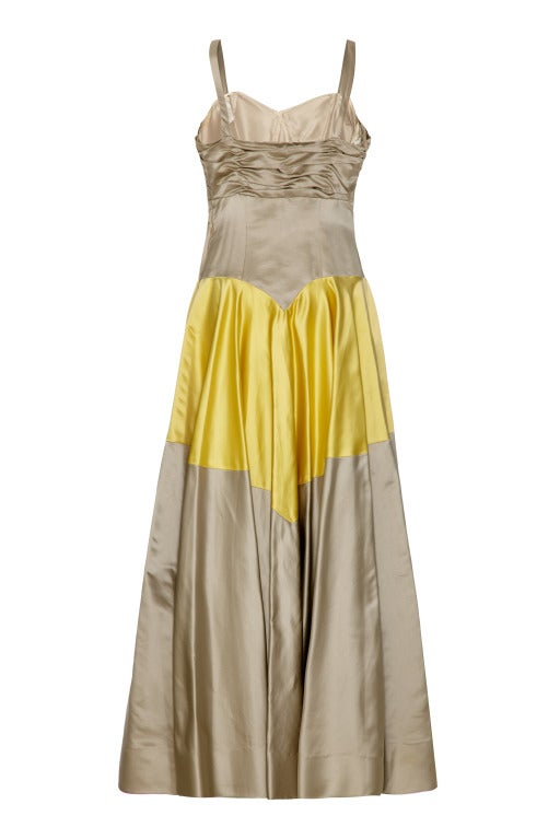 1950's Grey & Yellow Silk Ballgown Dress With Matching Gloves 2