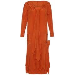 1920's Rust Orange Silk Flapper Dress