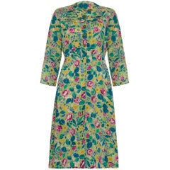 1940's  Floral Green Crepe Dress