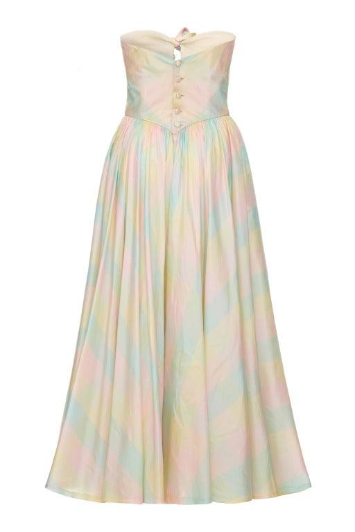 1980's Strapless Checked Silk Dress 2